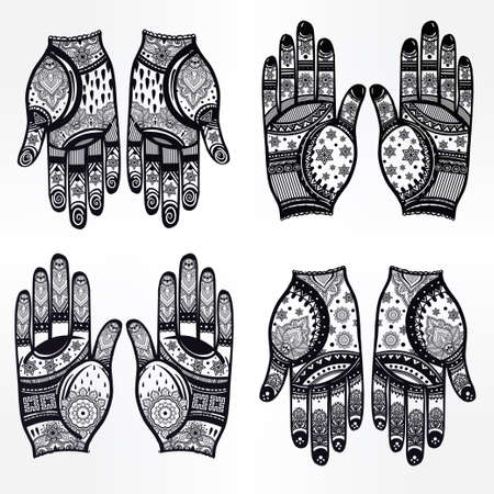 wedding decor: Ornate hands with Mehndi  line art set - oriental traditional festive henna tattoos for women. Beautiful isolated vector illustration.