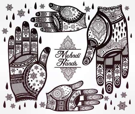 east indian: Ornate hands with Mehndi  line art set - oriental traditional festive henna tattoos for women. Beautiful isolated vector illustration.