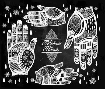 indische muster: Kunstvolle Hände mit Henna line art set - orientalische traditionelle festliche Henna-Tattoos für Frauen. Schöne isoliert Vektor-Illustration.