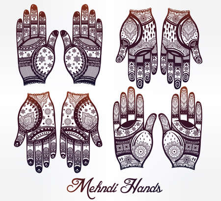 tattooing: Ornate hands with Mehndi  line art set - oriental traditional festive henna tattoos for women. Beautiful isolated vector illustration.