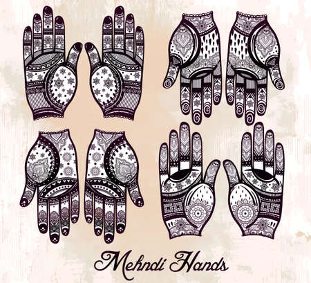 handicraft: Ornate hands with Mehndi  line art set - oriental traditional festive henna tattoos for women. Beautiful isolated vector illustration.