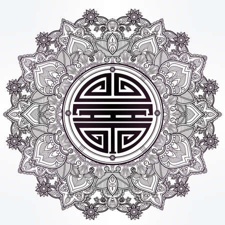 La longevidad, salud fuerte y buena suerte Mandala.Traditional símbolo chino para la bendición. Patrón de ornamento redondo. Aislado vector dibujado a mano de fondo. Banner, invitación, invitación de boda, reserva de chatarra.