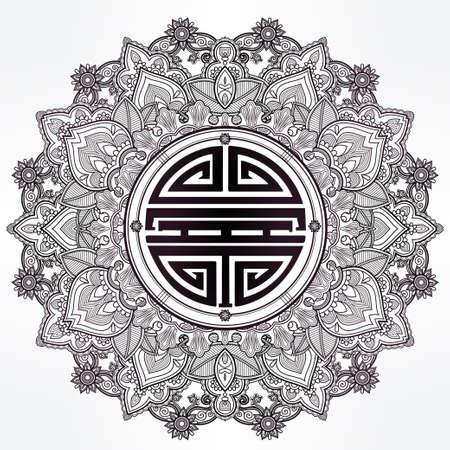 chinois: Longévité, santé solide et bonne chance Mandala.Traditional symbole chinois pour la bénédiction. Round ornement. Isolé vecteur dessiné à la main fond. Bannière, invitation, carte de mariage, le scrapbooking. Illustration