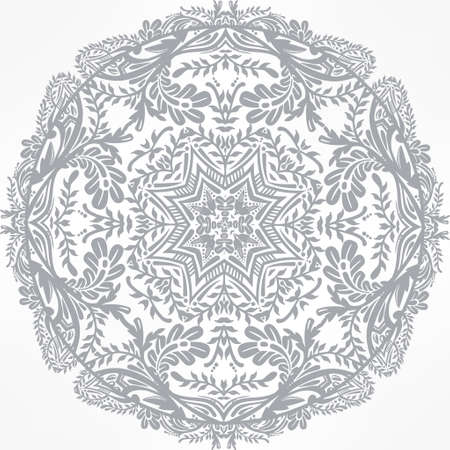 tantra: Floral round lace ornament mandala. Vintage vector pattern isolated. Hand drawn abstract background. Decorative retro banner isolated. Invitation, wedding card, scrap booking. Tattoo element. Illustration