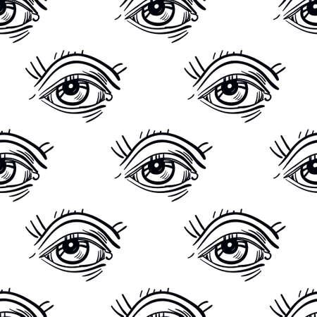 fashion art: Trendy fashion Pop - Art eye seamless pattern. Isolated vector illustration.