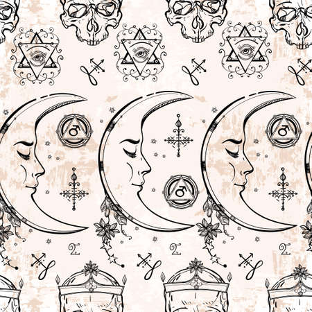 alchemist: Seamless pattern of Alchemy and Magic symbols. Textile, paper Design and tattoo elements.Vector illustration. Illustration