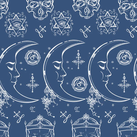 mistic: Seamless pattern of Alchemy and Magic symbols. Textile, paper Design and tattoo elements.Vector illustration. Illustration