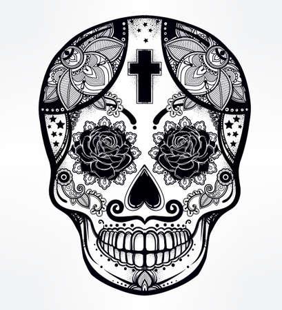 latin: Hand drawn Day of the Dead holiday - Dia de los Muertos in Spanish - sugar skull.  Vintage style Hispanic folk spiritual art. All Saints Holiday mascot. Isolated vector illustration. Illustration