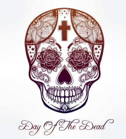 deaths: Hand drawn Day of the Dead holiday - Dia de los Muertos in Spanish - sugar skull.  Vintage style Hispanic folk spiritual art. All Saints Holiday mascot. Isolated vector illustration. Illustration