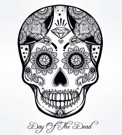 dia de los muertos: Hand drawn Day of the Dead holiday - Dia de los Muertos in Spanish - sugar skull.  Vintage style Hispanic folk spiritual art. All Saints Holiday mascot. Isolated vector illustration. Illustration