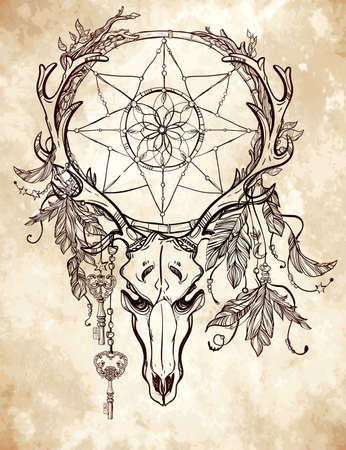 hand art: Beautiful skull tattoo art. Vintage deer, bull, elk, horns. Antlers with branches and ornate dream catcher with stars, lock, feathers. Hand drawn outline work. Vector illustration. Isolated.