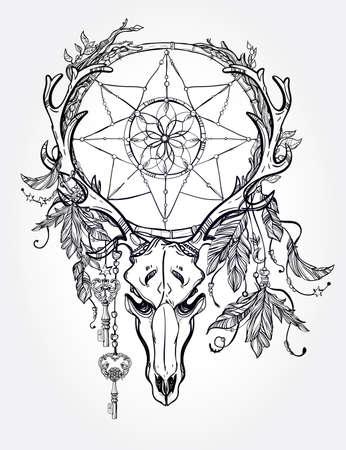 toro: Arte hermoso del tatuaje del cráneo. Ciervos Vintage, toro, alces, cuernos. Antlers con ramas y atrapasueños adornado con estrellas, cerradura, plumas. Dibujado a mano el trabajo de esquema. Ilustración del vector. Aislado. Vectores