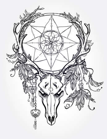 indian tattoo: Beautiful skull tattoo art. Vintage deer, bull, elk, horns. Antlers with branches and ornate dream catcher with stars, lock, feathers. Hand drawn outline work. Vector illustration. Isolated.