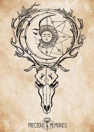 llave de sol: Arte hermoso scull tatuaje. Ciervos Vintage scull con astas y ramas y atrapasueños adornado con estrellas, dormir luna y el sol en ella. Dibujado a mano el trabajo de esquema. Ilustración del vector. Aislado.