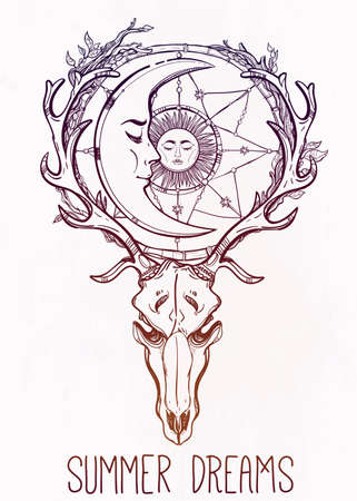 moon and stars: Beautiful scull tattoo art. Vintage deer scull with antlers and branches and ornate dream catcher with stars, sleeping moon and sun in it. Hand drawn outline work. Vector illustration. Isolated.