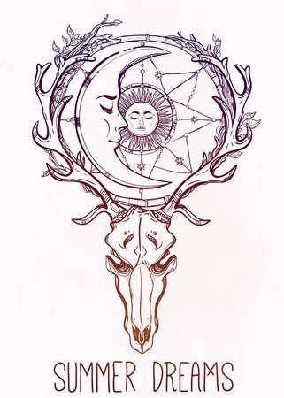 sonne mond und sterne: Schöne Schädel Tattoo-Kunst. Weinlese-Rotwild Scull mit Geweih und Zweige und kunstvollen Traumfänger mit Sternen, Mond und Sonne schlafen darin. Hand gezeichnete Umriss Arbeit. Vektor-Illustration. Isoliert.