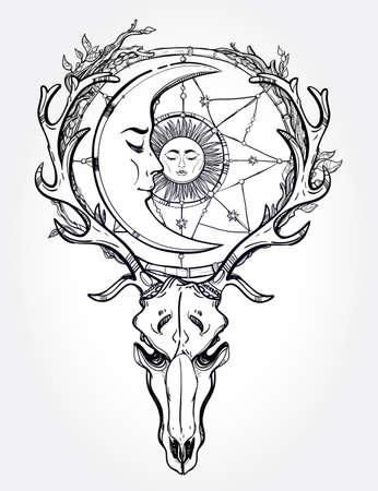 alquimia: Arte hermoso scull tatuaje. Ciervos Vintage scull con astas y ramas y atrapasueños adornado con estrellas, dormir luna y el sol en ella. Dibujado a mano el trabajo de esquema. Ilustración del vector. Aislado.
