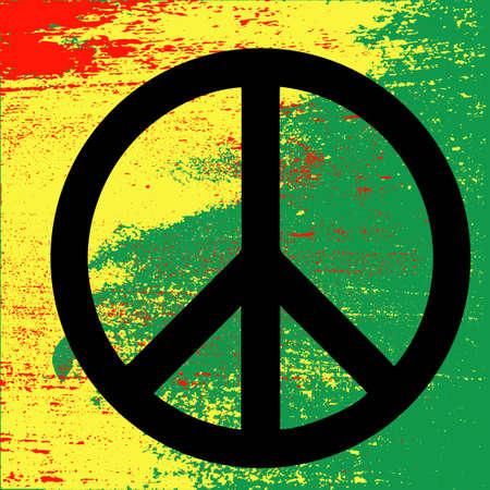 carribean: Peace symbol, reggae background on Rastafarian colors of Jamaica . Concept design. Isolated vector illustration.