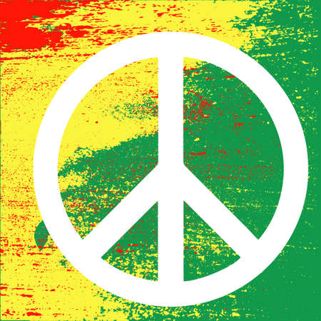 red sign: Peace symbol, reggae background on Rastafarian colors of Jamaica . Concept design. Isolated vector illustration.
