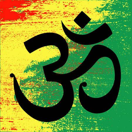 simbolo della pace: OHM - l'unità Amore e simbolo della pace, reggae sfondo sui colori rasta della Giamaica. Concept design. Illustrazione vettoriale isolato.