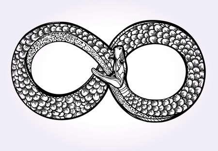 magie: Carte vintage. Serpent qui se mange son conte dessinée à la main. Ouroboros esquisse de ligne. Infinity, symbole de la vie éternelle. Conception de tatouage. Isolated illustration vectorielle. Doodle magie, l'alchimie la science médiévale.