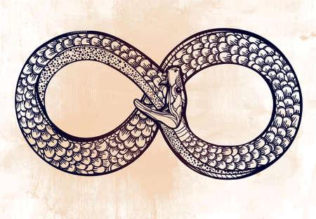 alquimia: Tarjeta de la vendimia. Serpiente comiéndose su cuento de mano dibujada. Boceto línea Ouroboros. Infinity, eterno símbolo de la vida. Diseño de tatuaje. Ilustración vectorial aislado. Doodle de la magia, la alquimia ciencia medieval.