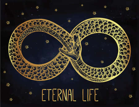 eternal life: Vintage card. Hand-drawn snake eating its tale. Ouroboros line sketch. Infinity, eternal life symbol. Tattoo design. Isolated vector illustration. Magic doodle, Alchemy medieval science.