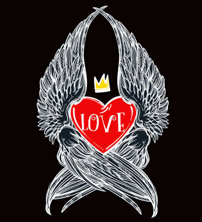 crown wings: Doodle style heart with angel wings and crown. Symbol of love for Valentines day concept, tattoo design or pop art textiles. Isolated vector illustration.