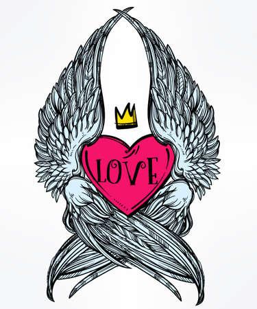 tatouage ange: Coeur de style Doodle ange avec des ailes et la couronne. Symbole d'amour pour la Saint-Valentin concept de jour, conception de tatouage ou les textiles du pop art. Isolated illustration vectorielle. Illustration