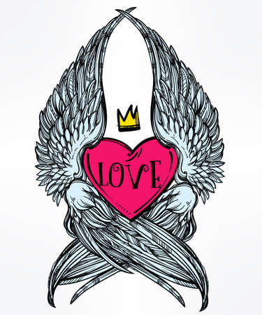 crown: Doodle style heart with angel wings and crown. Symbol of love for Valentines day concept, tattoo design or pop art textiles. Isolated vector illustration.