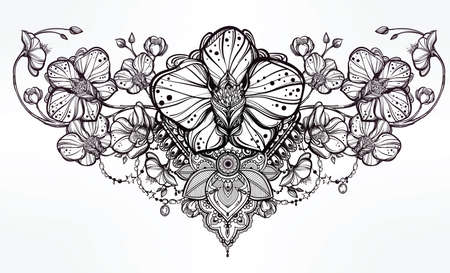 sternum: Vintage floral highly detailed hand drawn orchid flower and paisley decoration. Beautiful motif, tattoo design element. Book concept art. Isolated vector illustration in line art style. Illustration
