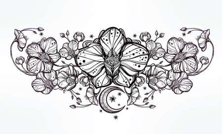 flores exoticas: Muy detallado floral de la vendimia flor de la orquídea dibujada mano y la decoración de la luna de Paisley. Hermoso adorno, tatuaje elemento de diseño. Libro de arte concepto. Ilustración vectorial aislados en la línea estilo del arte.