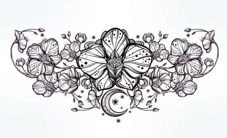 Vintage floral highly detailed hand drawn orchid flower and paisley moon decoration. Beautiful motif, tattoo design element. Book concept art. Isolated vector illustration in line art style. Illustration