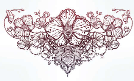 Vintage floral highly detailed hand drawn orchid flower and paisley decoration. Beautiful motif, tattoo design element. Book concept art. Isolated vector illustration in line art style. Illustration