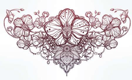 disegni cachemire: Vintage floreale altamente dettagliato fiore di orchidea disegnato a mano e decorazioni paisley. Bella motivo, tatuaggio elemento di design. Prenota concept art. Isolata illustrazione vettoriale in stile art linea.
