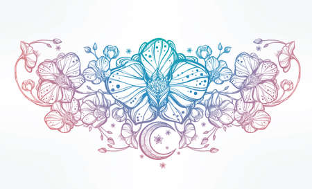 orchidee: Vintage floreale altamente dettagliato fiore di orchidea disegnato a mano e decorazioni paisley luna. Bella motivo, tatuaggio elemento di design. Prenota concept art. Isolata illustrazione vettoriale in stile art linea.