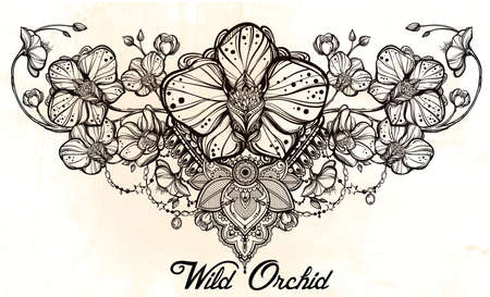 orchids: Vintage floreale altamente dettagliato fiore di orchidea disegnato a mano e decorazioni paisley. Bella motivo, tatuaggio elemento di design. Prenota concept art. Isolata illustrazione vettoriale in stile art linea.