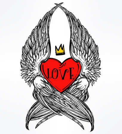 heart with crown: Doodle style heart with angel wings and crown. Symbol of love for Valentines day concept, tattoo design or pop art textiles. Isolated vector illustration.