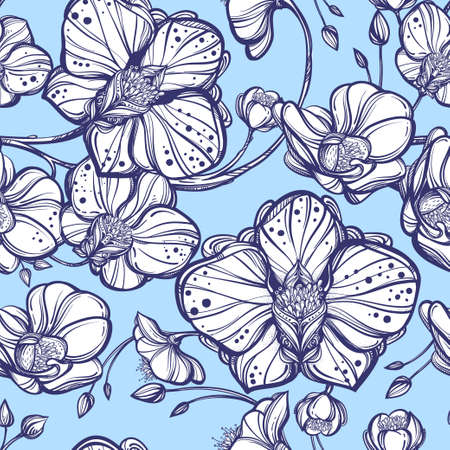 flower patterns: Hand drawn Orchid flowers seamless pattern. Elegant linear style botanical ornament. Repetition background for textiles , wrapping paper or wallpapers. Isolated vector illustration. Illustration