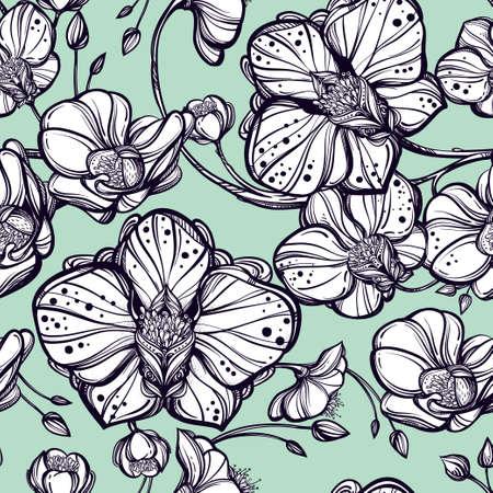 orchidee: Disegno a mano fiori di orchidea seamless pattern. Elegante stile lineare ornamento botanico. Ripetizione sfondo per il tessile, carta da imballaggio o sfondi. Illustrazione vettoriale isolato.
