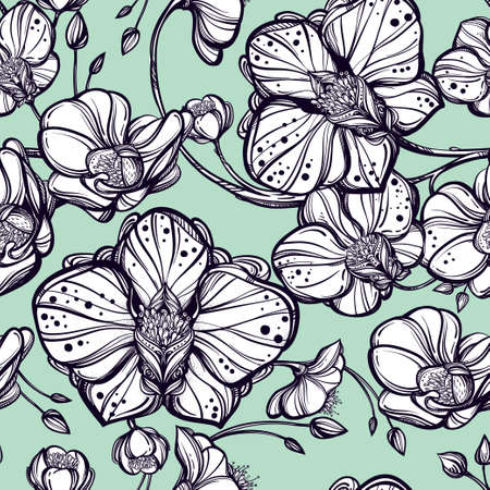 Hand drawn Orchid flowers seamless pattern. Elegant linear style botanical ornament. Repetition background for textiles , wrapping paper or wallpapers. Isolated vector illustration. Illustration