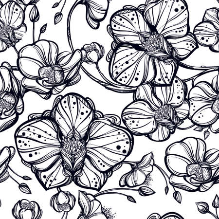 orchid: Hand drawn Orchid flowers seamless pattern. Elegant linear style botanical ornament. Repetition background for textiles , wrapping paper or wallpapers. Isolated vector illustration. Illustration