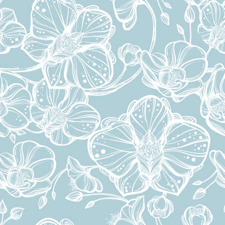 repetition: Hand drawn Orchid flowers seamless pattern. Elegant linear style botanical ornament. Repetition background for textiles , wrapping paper or wallpapers. Isolated vector illustration. Illustration