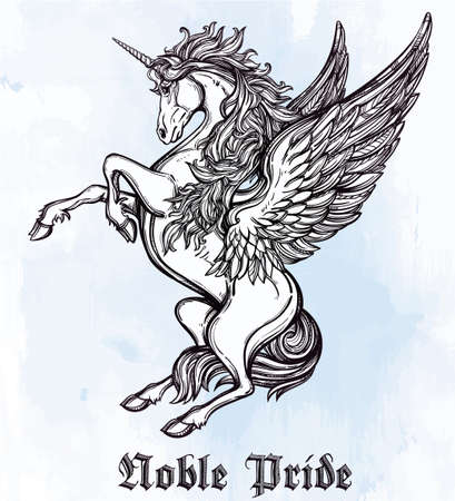 unicorn: Hand drawn vintage Unicorn mythological winged horse. Victorian motif, tattoo design element. Heraldry and logo concept art. Isolated vector illustration in line art style. Illustration