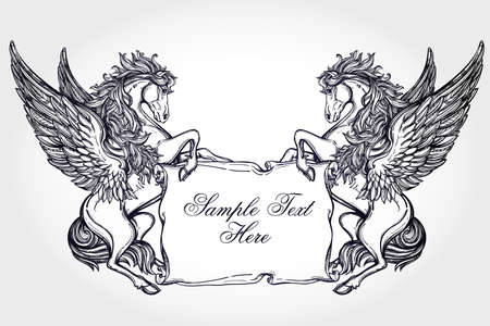 cartouche: Hand drawn vintage Pegasus mythological winged horse with scroll for your text. Copy space for message. Tattoo element. Heraldry and logo concept art. Isolated vector illustration in line art style.