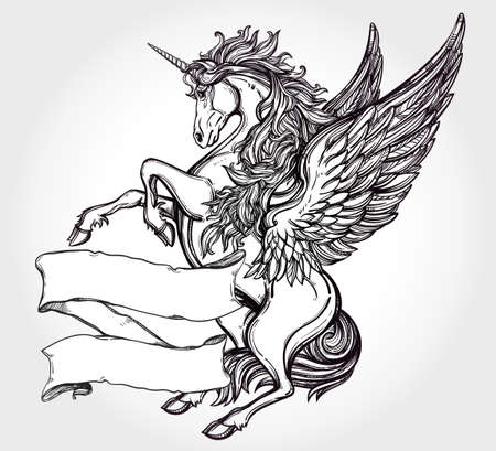 tattoo arm: Hand drawn vintage Unicorn mythological winged horse with scroll for your text. Copy space for message. Tattoo element. Heraldry and logo concept art. Isolated vector illustration in line art style. Illustration