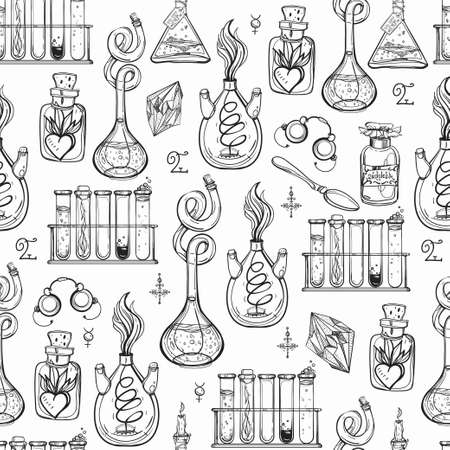 sketch book: Seamless pattern of Alchemy Vintage Lab symbols. Science, philosophy, spirituality, occultism, chemistry, science, magic. Retro style Boho design and tattoo elements. Vector repetition illustration.