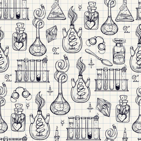 Seamless pattern of Alchemy Vintage Lab symbols. Science, philosophy, spirituality, occultism, chemistry, science, magic. Retro style Boho design and tattoo elements. Vector repetition illustration.