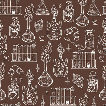 occultism: Seamless pattern of Alchemy Vintage Lab symbols. Science, philosophy, spirituality, occultism, chemistry, science, magic. Retro style Boho design and tattoo elements. Vector repetition illustration.