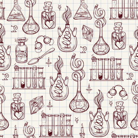 magic potion: Seamless pattern of Alchemy Vintage Lab symbols. Science, philosophy, spirituality, occultism, chemistry, science, magic. Retro style Boho design and tattoo elements. Vector repetition illustration.